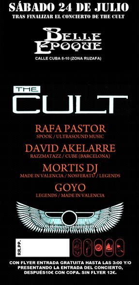 After party the cult en sala belle epoque conciertos y for Bauhaus valencia horario